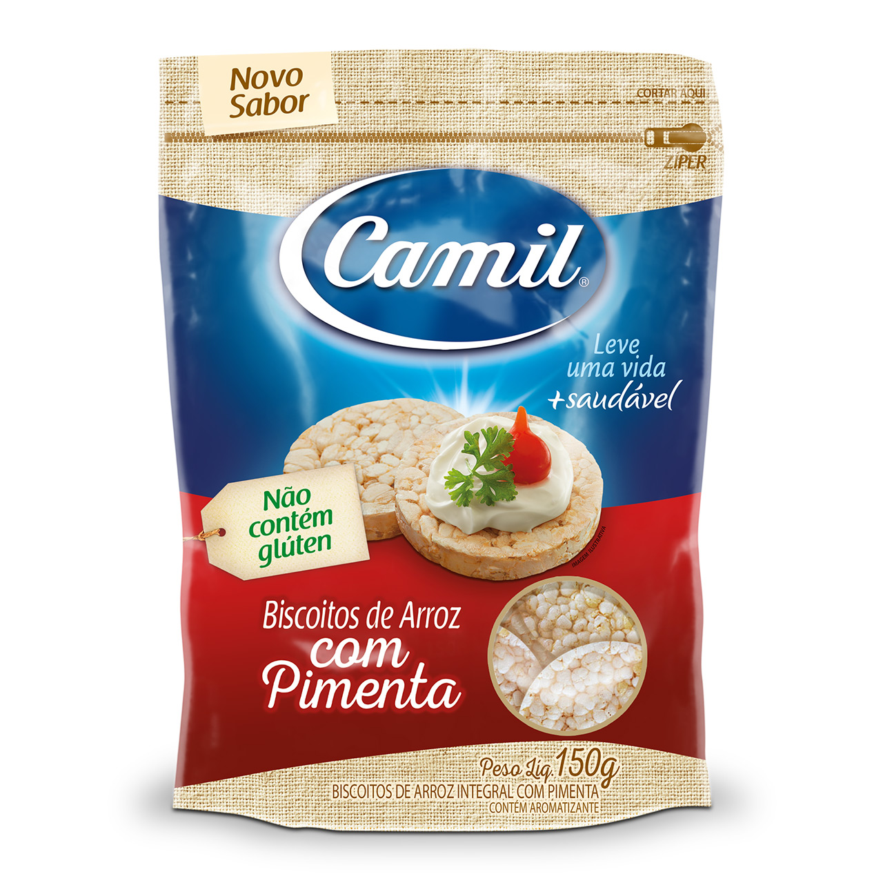 Biscoito de arroz integral sabor Pimenta