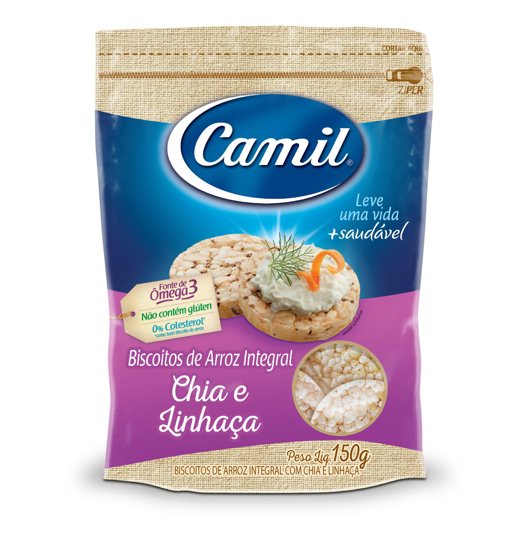 Biscoito de arroz integral sabor Chia e Linhaça